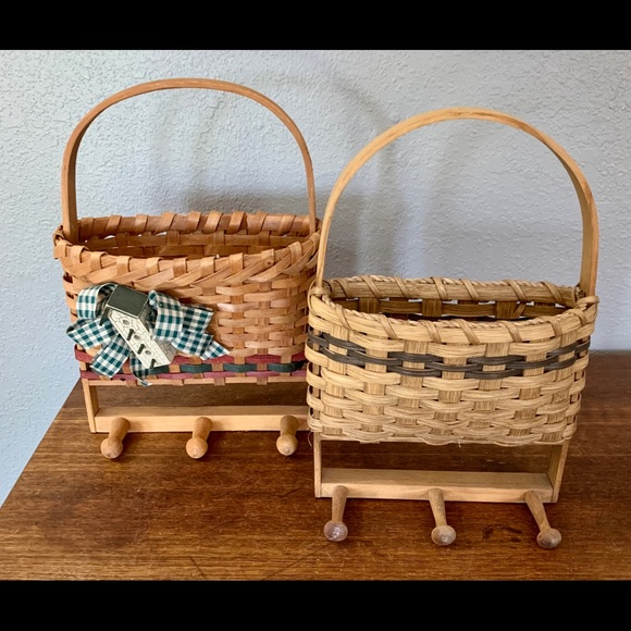 Vintage Other - Pair Vintage Handmade Basket Wall Decor With Knobs